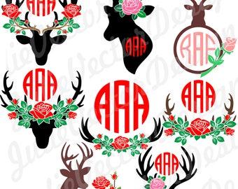 Floral Antler svg, Floral svg, Flower SVG cut File, svg, dxf, png, ai, eps, jpg, Antler Cut Files, Antlers Clip Art, Monogram Antler svg