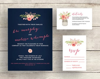 Navy and Coral Flower Wedding Invitation Suite