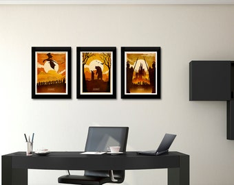 Trio Movie Print Set 50% OFF - See description, movie Art, Poster Gift Idea, illustration, dragon, trilogy,