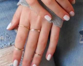 Solid Gold Ring, Stacking Ring, Handmade Tiny Rings, Knuckle Rings, Midi Rings, Rose Gold Ring, White Gold Ring, Small Ring, Ring Party