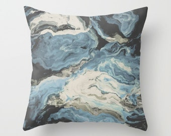 Abstract Throw Pillow. 18x18 Pillow Case. Dusty Blue Marble Effect Cushion Cover. Bohemian Pillow. Sofa Pillow. Modern Decorative Pillow.