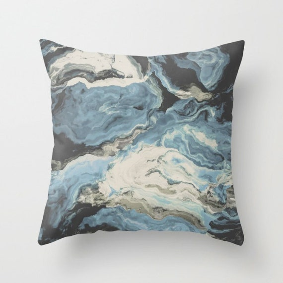 Dusty Blue Decorative Pillows : Abstract Throw Pillow. 18x18 Pillow Case. Dusty Blue Marble