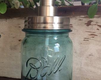 Antique Blue Mason Jar Soap Dispenser...Pint. Vintage. Soap. Farmhouse. Pump. 1920's. Original. Ball. Canning. Handmade. Glass.