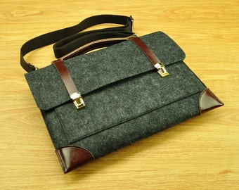 Felt attache case,laptop messenger,MacBook bag,laptop bag for men,13 MacBook Air,felt Briefcase Macbook Bag with Handle for Macbook15-TFL154