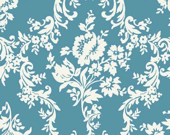 """Riley Blake Fabric - Aqua and White Lost and Found Damask Home Decorator Cotton Canvas Fabric HD3692 - listing for 1 Yard (57-58"""" wide) DLP"""