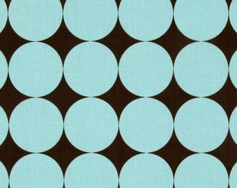 Michael Miller Disco Dots in Brown and Robins Egg Blue Fabric no Longer in Print Limited Quantity - listing for 1 Yard -FM