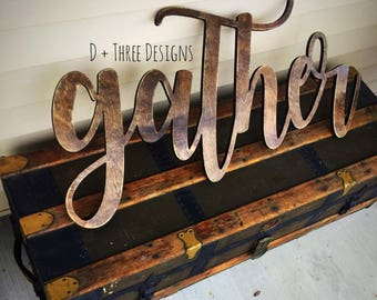 Large Distressed Gather Sign (You Pick The Stain Color), Rustic Farmhouse Chic, Wooden Letters, Home Decor, Wooden Phrase, Shelf Sign