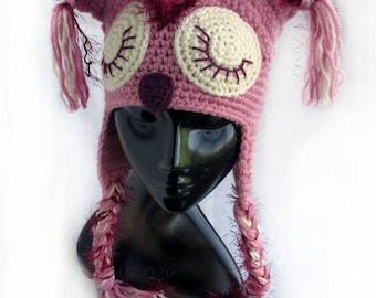 Crochet owl hat,Crochet animal hat,Crochet pink hat,Crochet kid hat