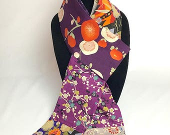Japanese Cotton Prints (Dobby and Wrapping Cloths) Reversible Pieced Scarf in purples plus
