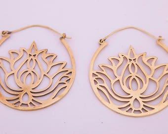 Lotus Hoop Earrings, Spiral Earrings, Brass Earrings, Tribal Earrings, Gypsy Earrings, Brass Spiral Earrings
