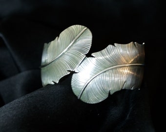 Unique Silver Feather Estate Bracelet