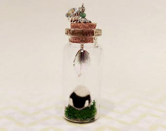 Needle Felted lamb in a Bottle Charm, Glass Bottle Pendant, Felted lamb Pendant