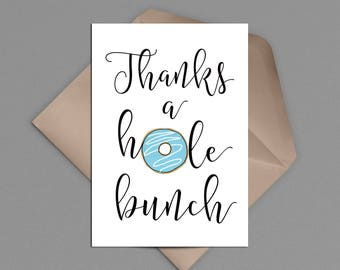 Thanks a Hole Bunch Donut Printable Thank You Card, Donut Grow Up Theme, INSTANT DOWNLOAD, Doughnut Baby Shower, Brunch Birthday Party