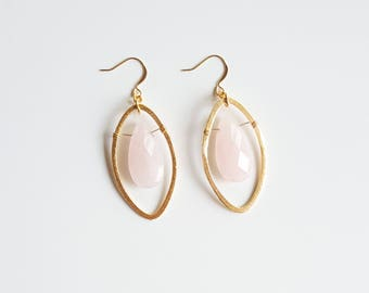Rose Quartz Earrings | Pink Drop Earrings | Rose Quartz Bridal Earrings | Statement Earrings