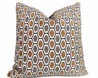 "Honeycomb Geometric Gray Off-white Orange-Gold Chenille Velvet Pillow Cover, Fits 12x18, 12x24, 14x20, 16x26 16"" 18"" 20"" 22"" 24"" Cushion Ins"
