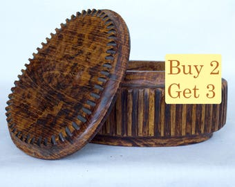 SPRING SALE - Oval Wooden Box Handmade For Jewelry Geometric Lines Vintage Look