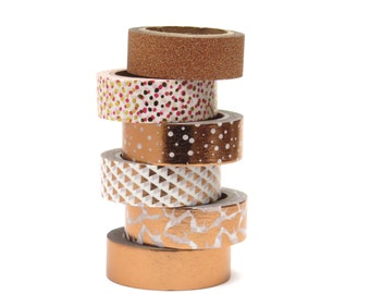 Copper Washi Tape Set Metallic Foil Rose Gold Butterfly Polka Dots Glitter