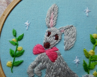 Free shipping, rabbit hoop, embroidery hoop, wall decor, rabbit embroidery hoop, embroidery wall decor, gift,  present