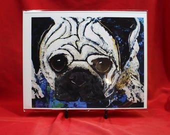 """Abstract Pug Print, Blue Abstract Pug, Pug Art For her, Him, Children, Pug Wall Art, 11"""" x 14""""pug print"""
