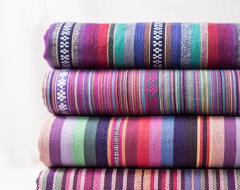 Colorful Stripe Fabric Native Tribal Fabric Ethnic Fabric BOHO Bohemian Style Cotton Upholstery fabric- 1/2 yard