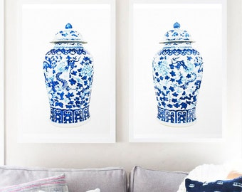 Blue Vase Print Watercolor China Illustration Kitchen Prints Dining Room Art And White Ceramic
