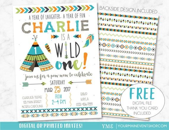 Wild One Birthday Invitation • Tribal Adventure Boy TeePee Arrow Feathers Arrow Pow Wow Invite Printable • Boho Wild and Free Thank You Card