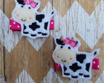 Cow hair clips, cow clippies, farm hair clips, Livestock show hair clips, girls hair clips, girly cow hair clips, hair clip set, felt clips