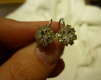 F86 Vintage Sterling Silver with Clear Rhinestones Screw Back Earrings.