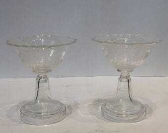 Pair of Etched Glass Bonbonniere