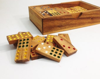 DOMINO, wooden tile game, wooden domino, outdoor game, family game.