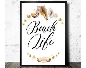 Beach Life Printable, Sea Shell Art, Coastal Decor, Summer Decor, Beach Decor, Coastal Art, Beach Artwork, Beach Print,  Instant Download