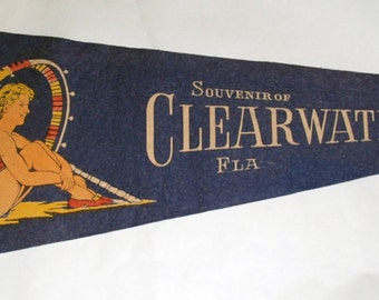 Genuine Vintage Original 1940s-'50s Felt Pennant Clearwater, Florida -- Free Shipping!
