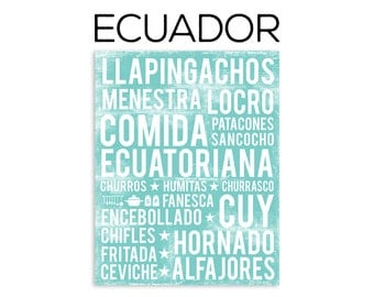 Ecuadorian Food Poster - Ecuador Poster - Food Word Art - Various Sizes & Colors
