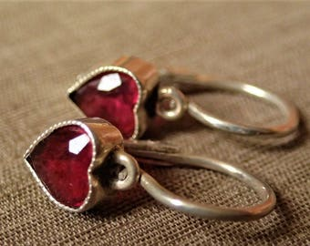 Delightful Antique Silver French Dormeuse Sleepers Heart Shaped Ruby Glass Earrings.