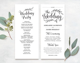 Wedding Programs, Printable Wedding Program Template, Kraft Paper Program, DIY Wedding Program, Tea Length, Vintage Wedding VW01