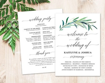 Greenery Wedding Program Template, Printable Wedding Programs, DIY Wedding Programs, Eucalyptus Greenery