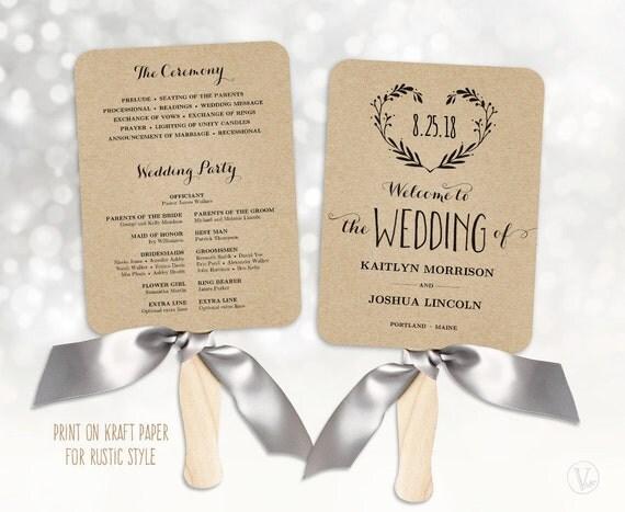 Wedding Fans Printable Wedding Program Template By Vinewedding