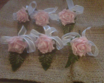 wedding buttonhole package .baby pink .14 buttonholes .x 2 double s groom bestman