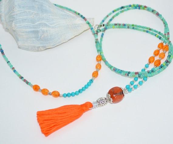 Necklace & Choker Set, Turquoise and Orange Beaded Long Tassel Necklace Set, 2 Piece Necklace Turquoise and Orange, Long Turquoise Necklace