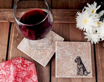 Set of 4 Airedale Terrier Travertine Stone Coasters