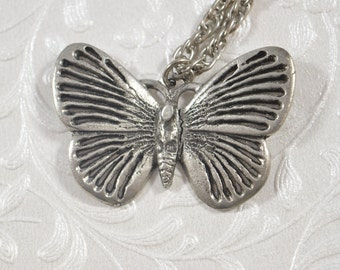 Vintage Metzke Pewter Butterfly Pendant Necklace 1974 Signed Pewter Jewelry Figural Pendant Butterfly Jewelry
