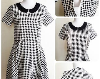 New Stylish Practical Breastfeeding Nursing Maternity Houndstooth Dogtooth Check Wedding Guest Party A-line Peter Pan Collar Dress S M L