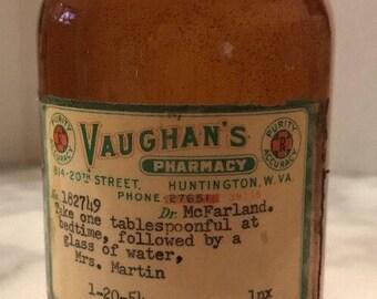 Large Antique Brown Jar Bottle Vaughan's Pharmacy Medicine Dated 1954