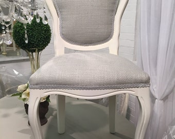 French Style Shabby Chic Bedroom/Dining Chair Laura Ashley Dallton Fabric Dove Grey
