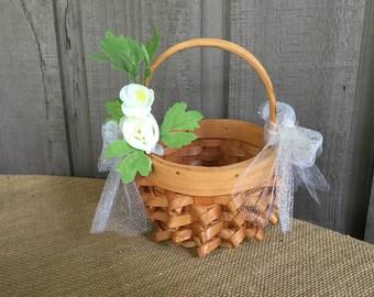 Flower girl basket/ rustic flower girl basket/ wedding basket/ wedding accessory/ flower girl/ rustic basket/ rustic basket for flower girl