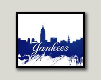 Yankees Art, Yankees Wall Art, New York Yankees, Baseball Art, Yankees Fan, Baseball Fan, Instant Download