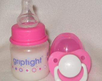 Reborn Baby Bottle FAKE Formula Milk Doll OOAK 2oz 60ml & Dummy Pink or Blue