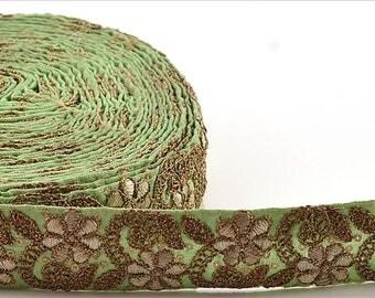 KK Indian Embroidered Prom Dress Border 1 Yd Trim Green Craft Lace Zari Work