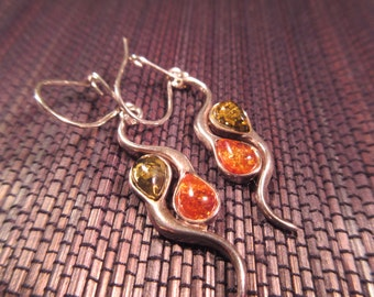 Delicate Sterling Silver Amber Earrings
