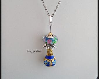 Jewelry creators pendant. Secret blue garden